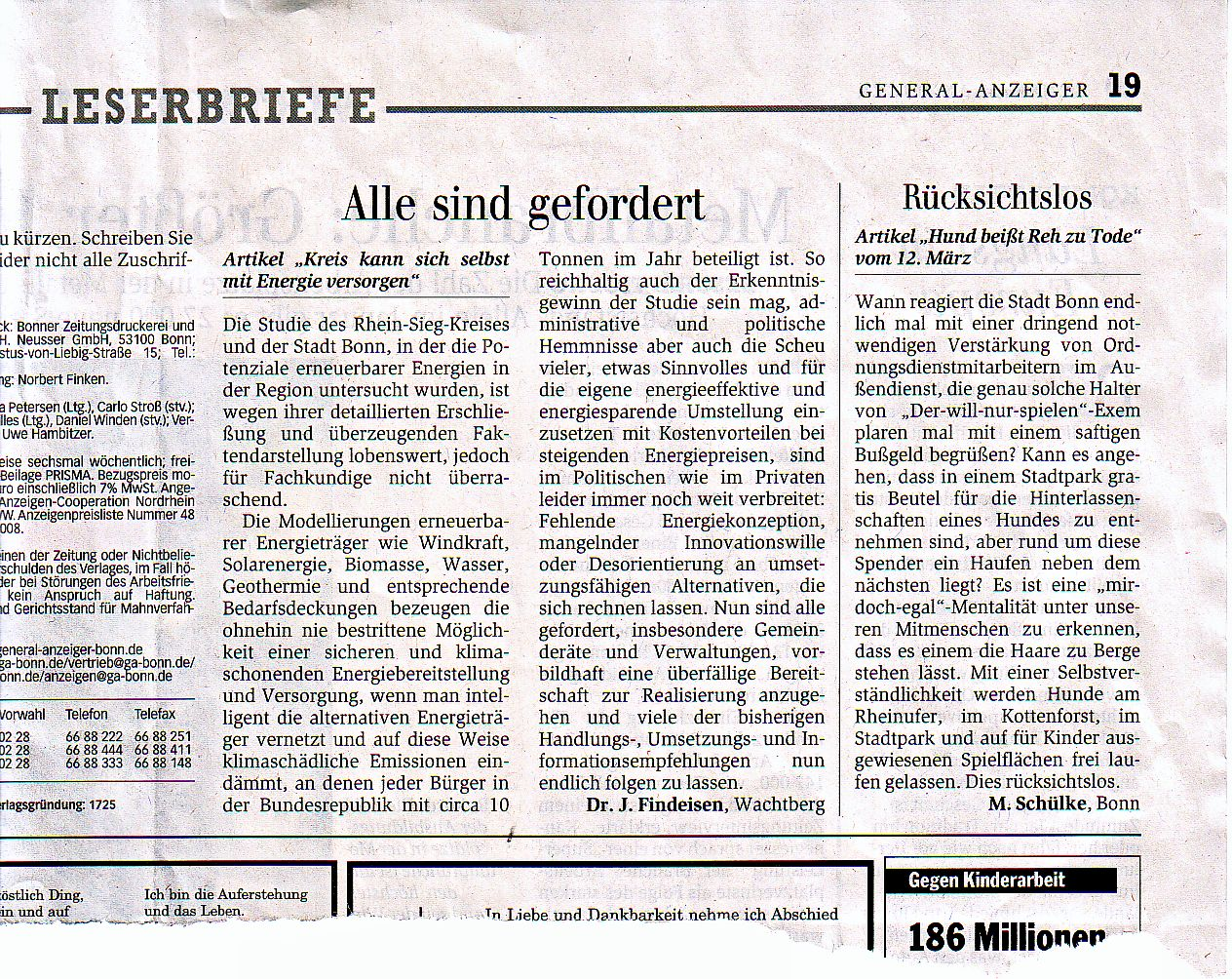 ing klaus ridder knigswinter berghausen leserbrief dr - Leserbriefe Beispiele